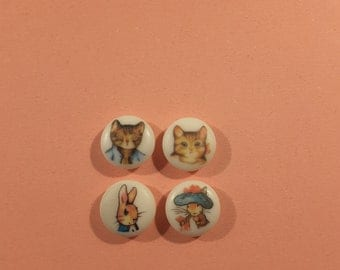 Set of 4 Beatrix Potter buttons (LAST FEW LEFT).
