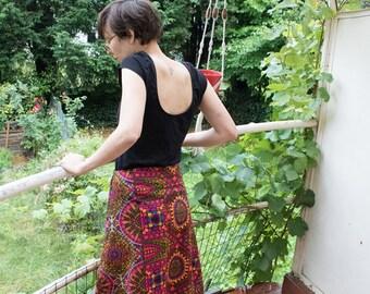 Vintage ethnic geometric pattern skirt / Vintage Skirt