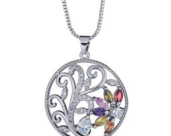 Rhodium Silver Plated String Chain Necklace with Swirl Radiant Design