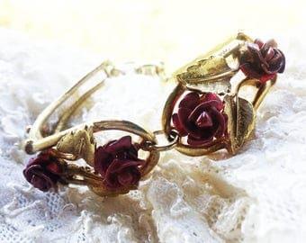 Elegant Vintage Rose Red Enamel Bracelet - 1960 - Raised Shaped Flowers - Special Occasion - Bridal Shower - Vintage