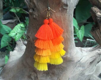 Orange&Yellow tassel earrings,Chandelier earrings,Hand made earrings,Tribe,Bohemian earrings.