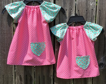Pink Polka Dot and Cherry Peasant Dress
