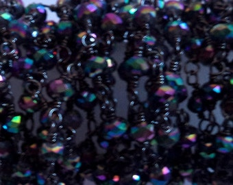10 Foot Wholesale Offer Pyrite Black Rhodium Rosary Chain - Beaded Jewelry Chain - Rondelle Faceted Chain - 3 to 4 mm Beads - Chain(CHN1021)