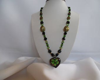 Green and black heart pendant necklace style Murano glass beads.