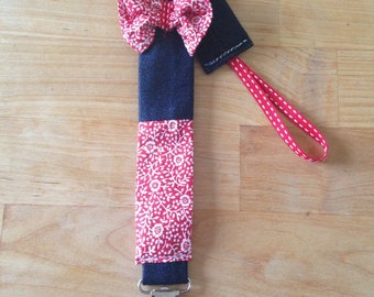 """Pacifier or Doll Girl """"eyelets"""" red tie clip"""