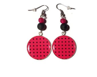 Cabochon earrings with black polka dots on Fuchsia/gift