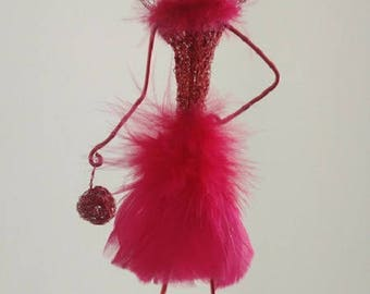 "Decorative doll ""Mrs Red boa"" red feather"