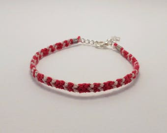 Pink and Tan Friendship Bracelet with Silver Star charm