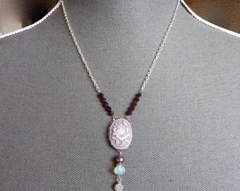 Necklace, silver metal, cameo, purple flower, beads, purple, charm, flower
