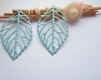 x 2 light turquoise enameled leaf prints
