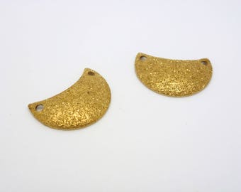 2 connectors spacers 15 * 10mm stardust (CLCD01) raw brass half moon