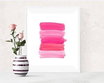 Pink art, PRINTABLE art, Brushstroke art, Wall art, Abstract art, Paintbrush art, Glam decor, Abstract print, Modern art print, Dorm decor