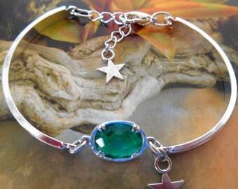 Bracelet silver plated green rhinestone set, Silver Star.