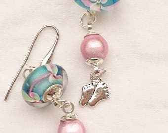 "Earrings ""it's a girl! ""Murano glass, Miracle beads and 925 sterling silver findings."