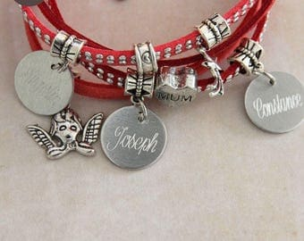 "Bracelet personalized with names ""Basic"" cherry"