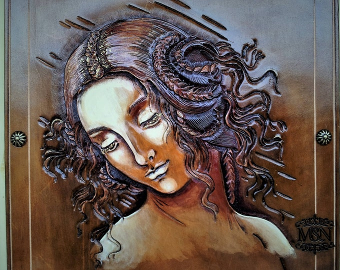 Leather tooled a study painting Leonardo's Renaissance portrait of Leda lashes with gold framed 40X40cm