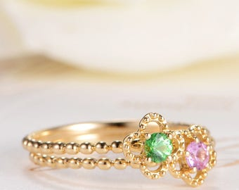 Sapphire Solitaire Ring Flower Pink  Unique Gold Beaded Ring  Tsavorite Ring Stacking Ring Set Multistone Promise Engagement Ring Gift 2 PCS