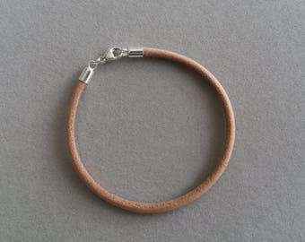 925 sterling silver genuine leather bracelet