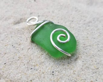 New Day/Wire Wrapped Green Lake Erie Beach Glass | Spiral Beach Glass Necklace