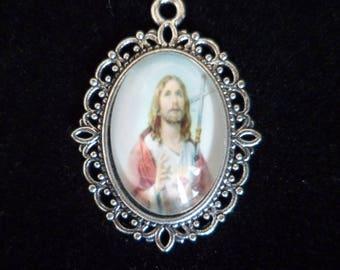 1 medal Christian Jesus 29 mm, glass Dome Cabochon pendant