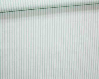 Stripes, 100% cotton fabric printed 50 x 160 cm, mint green and white stripes pattern