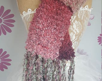 pink ombré scarf hand knitted so soft so fluffy ombre