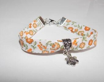 White and orange flower Liberty bracelet