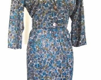 M 50s 60s 2pc Suit Dress by Penny Packer Gray Chartreuse Blue Dress Jacket Nylon Stroller Medium