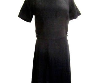 M 50s 60s Black Dress Linen Mid Century Modern Audrey Librarian Pleated Skirt Mad Men Day Night LBD Alyson Ayers Medium