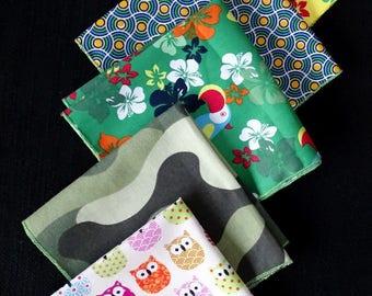 "SET of 5 handkerchiefs in fabric ""parrots, round, owls..."""