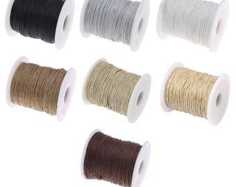 10 Mètres de Fil cordon coton ciré - 1mm (Noir, marron, naturel, beige, ficelle, gris, blanc)