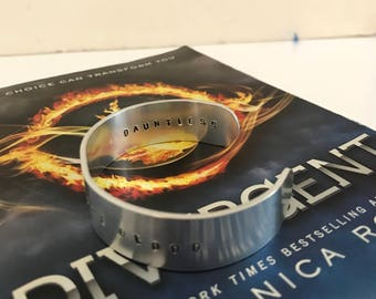 Dauntless Bangle, Divergent Bangle, Faction Before Blood, Metal Stamped Bangle, Bookish Bracelet, Fandom Bracelet, Book Nerd, Quote Bracelet