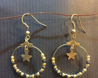 BOHEMIAN hoop earrings bronze with star
