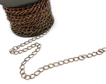 Antiqued copper plated 4mm curb chain x 1 meter
