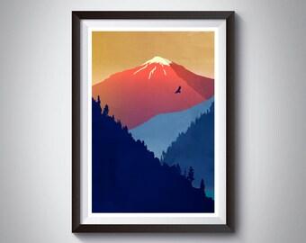 Mountain Art, Scandinavian Art, Mid Century Landscape Art, Scandinavian Decor, Mountains Woodland, National Park, Warm Colors, Original Art