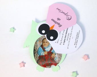 Invitation with customizable photo OWL theme! Dimensions: 12,5 x 14cm 210g paper