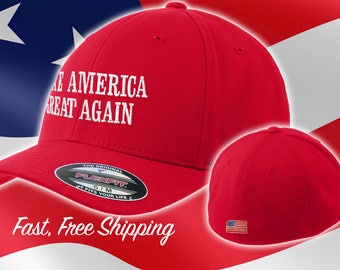 Red Make America Great Again Hat - Fitted MAGA Cap - American Flag Back Flexfit red maga Hat - Flex Fit Red Trump Hat #MAGA Free Shipping