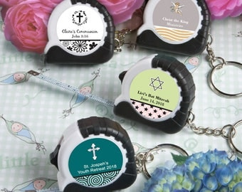 24 Personalized Religious Key Chain / Measuring Tape Favors - Set of 24