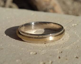 Alliance white gold wedding ring white and yellow gold 18 K wedding band, wedding ring men, woman, two alliance alliance golds, promise wedding