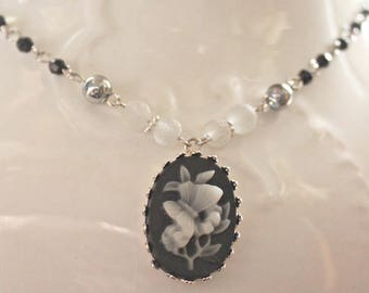 Black, White, and Silver Butterfly Cameo Necklace, Pendant Necklace