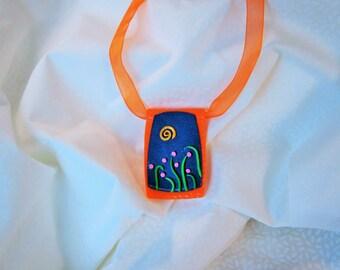 orange Blue Green Pink pendant, flowers and stylized grass, orange and blue raised flowers blue orange necklace, layering pendant
