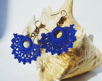 Blue handcrafted crochet earrings. FREE shipping in UK!