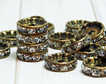 10pcs - 12mm - Rhinestone Rondelle - Bronze Spacer Beads - Metal Beads - Crystal Spacers - Rhinestone Spacer Beads - (191)