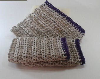 Set of 3 dishcloths tawashi 100% natural hemp 10 cm border purple