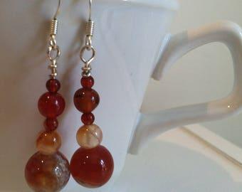 Red agate dangle beaded earrings
