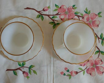 Vintage Fire King Set of 2 Cup and Saucer Milk Glass with Gold