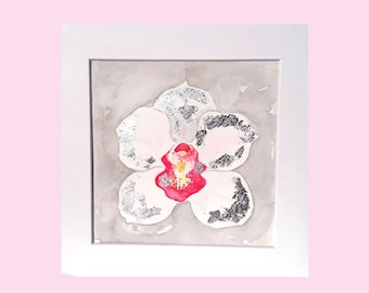 Original orchid watercolour, orchid painting, silver foil detail, gift for her, original flower artwork, orchid wall art, pink flower art
