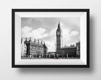 Black and white London print, Big Ben, Houses of Parliament, London Eye, fine art print, wall art, wall print, home decor, monochrome print