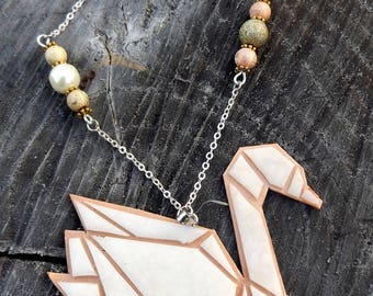 Necklace Geometric White swan and copper