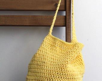 Yellow cotton farmers market bag with color options tote bag cotton bag grocery bag crochet crocheted market bag produce bag cotton tote